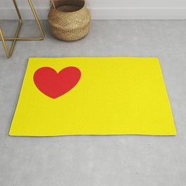 Red heart in yellow Rug