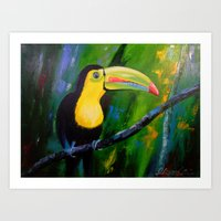 toucan Art Prints featuring Toucan by OLHADARCHUK