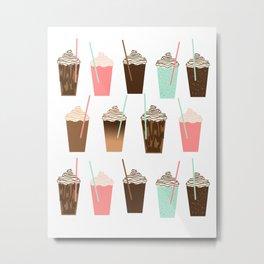 Iced Coffee - latte mocha coffee cafe summer cappuccino dessert sweet treat caramel pattern  Metal Print