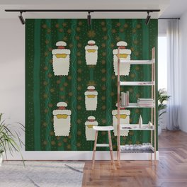 Merry Mr. santas comes with glimmering stars Wall Mural