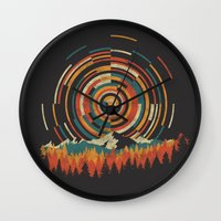 Wall Clocks featuring The Geometry of Sunrise by Dianne Delahunty