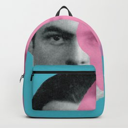 Hemingway - portrait pink and blue Backpack