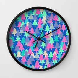 Colorful fir pattern II Wall Clock