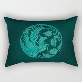 Traditional Teal Blue Chinese Phoenix Circle Rectangular Pillow