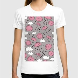 Blue umbrella sky rainy day abstract fall illustration pattern pink T-shirt