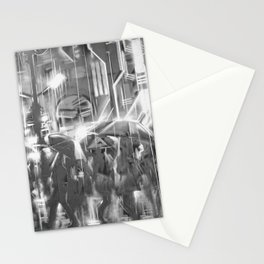 Rainy day in the city. Stationery Cards