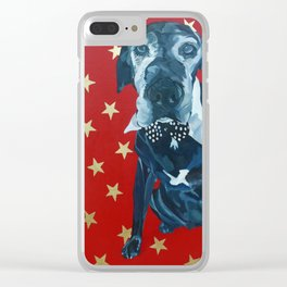 Starry Leonard the Black Lab Dog Portrait Clear iPhone Case