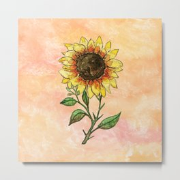 Single Watercolor Sunflower Metal Print
