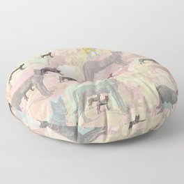 Sky Dogs - Abstract Geometric pink mauve mint grey orange Floor Pillow
