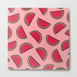 Watermelon Pattern in Pink Metal Print