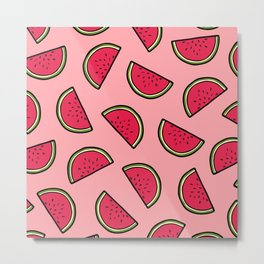 Watermelon Pattern in Pink Metal Print