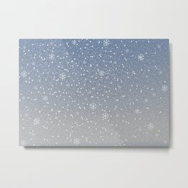 Winter Snowy Background fill with snow and snowflakes. Winter, Merry Christmas collection Metal Print