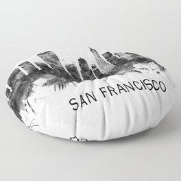 San Francisco California Skyline BW Floor Pillow