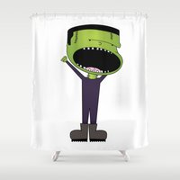 frank Shower Curtains featuring Frank by Primal Dream