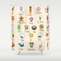 alphabet Shower Curtains featuring Alphabet by Lara Lockwood
