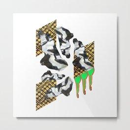 Bent Chrome Junk // Frozen Paint Drop Metal Print