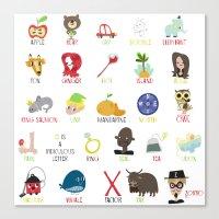 alphabet Canvas Prints featuring Alphabet by genie espinosa