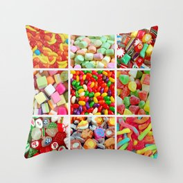 Colorful candy collage Throw Pillow