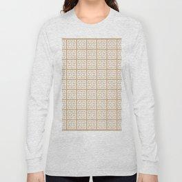 Tan Brown Greek Key Pattern Long Sleeve T-shirt
