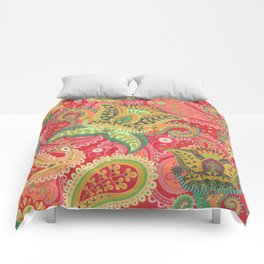 Boho Paisley Floral Pattern 4 Comforters