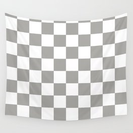 Grey, Fog: Checkered Pattern Wall Tapestry