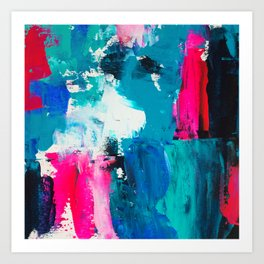 Look on the bright side | neon pink blue brushstrokes abstract acrylic painting Art Print
