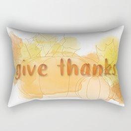 Give Thanks Autumn Pumpkin Leaves Rectangular Pillow