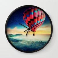 hot air balloons Wall Clocks featuring Hot Air Balloons by EclipseLio