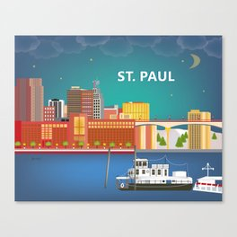 St. Paul, Minnesota - Skyline Illustration by Loose Petals Canvas Print