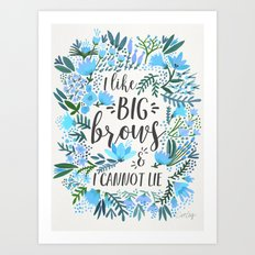 Big Brows – Blue Palette Art Print