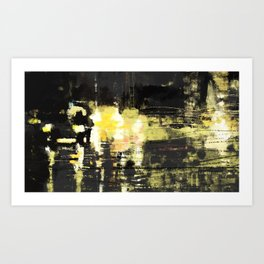 Urban illustration highway cars cityscape light reflection movement abstact painting Art Print