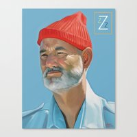 steve zissou Canvas Prints featuring Steve Zissou by Brad Collins Art & Illustration