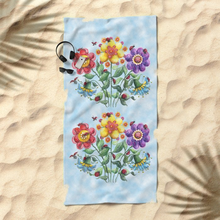 Ladybug Playground on a Summer Day Beach Towel