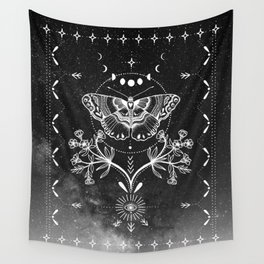 Magical Moth Black Wall Tapestry