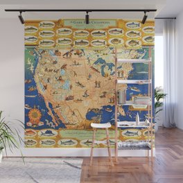 Game Fish Cyclopedia of America Illustrated Map Wall Mural