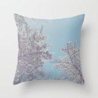sakura Throw Pillows featuring Sakura by Luke J