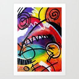 I Feel Fine - Whirly Swirls Splashy Aqua Turquoise Blue Red Yellow  Fine Art Abstract Painting Art Print