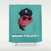 zappa Shower Curtains featuring Who are the Brain Police? by holaf