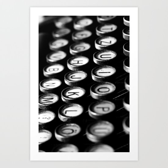 Typewriter keys black and white Art Print