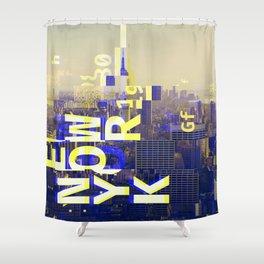 GLITCH CITY #00 NEW YORK Shower Curtain