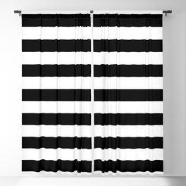 Large Black and White Horizontal Cabana Stripe Blackout Curtain