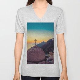 Adorable Santorini Unisex V-Neck