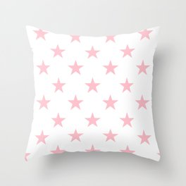 Stars (Pink/White) Throw Pillow