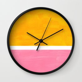 Pastel Yellow Pink Rothko Minimalist Mid Century Abstract Color Field Squares Wall Clock