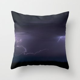 Summer Lightning Storm On The Prairie IV - Nature Landscape Throw Pillow