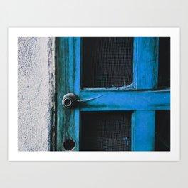 closeup old blue vintage wood door texture background Art Print