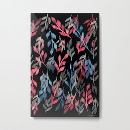 180726 Abstract Leaves Botanical Dark Mode 2 Metal Print