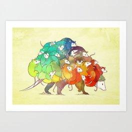 Opossum Rainbow Babies Kunstdrucke