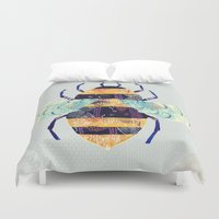 bee Duvet Covers featuring bee by Yellow Button Studio