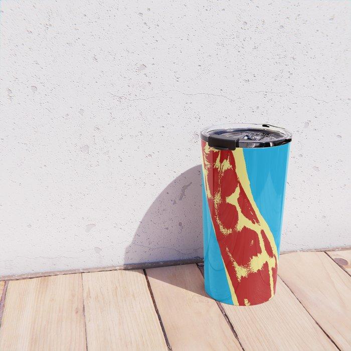 Giraffe picture over light blue background in pop art style Travel Mug